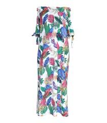 Biała Sukienka hiszpanka maxi w kolorowe liście - ESTELLE