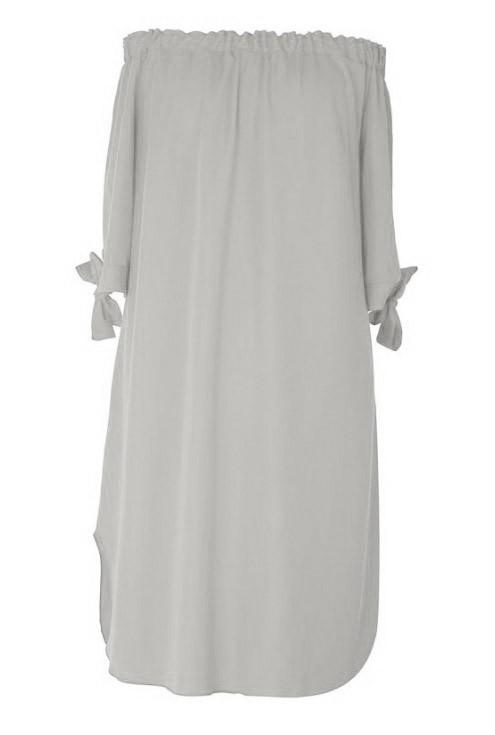 Jasnoszara sukienka hiszpanka