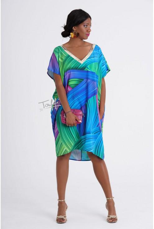 Zielono-niebieska sukienka oversize z cekinami - GOLDI