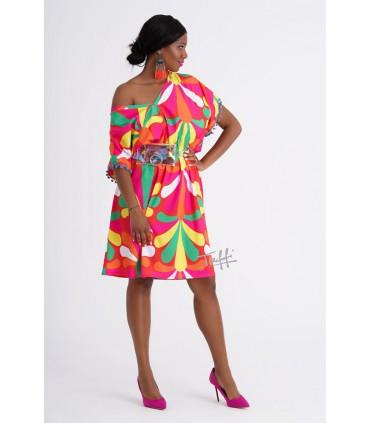 Czerwona sukienka z kolorowym wzorem KAROTI