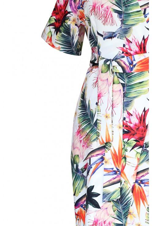 detal kopertowej sukienki w kwiaty venezia