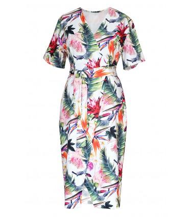 Biała sukienka wzór w kwiaty - VENEZIA FLOWERS