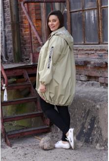 Oliwkowa kurtka z napisami - AMBER