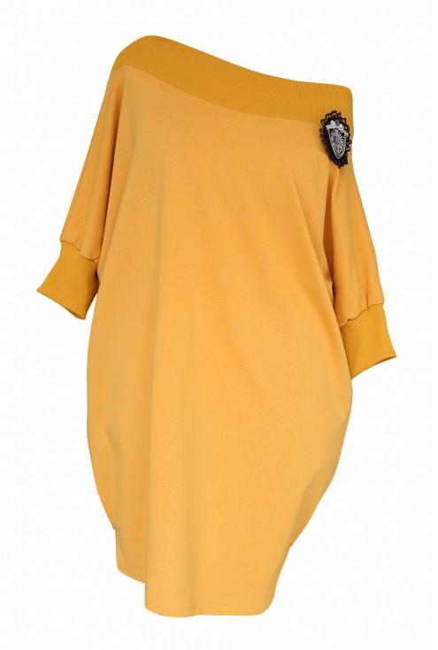 musztardowa sukienka hiszpanka sandra