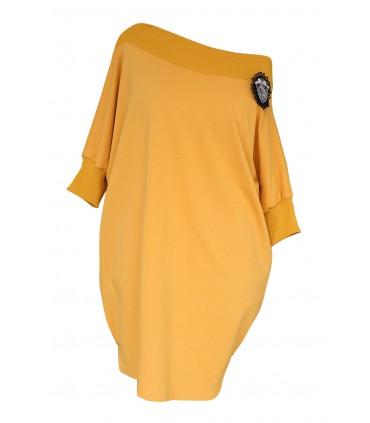 Musztardowa tunika/sukienka hiszpanka - SANDRA