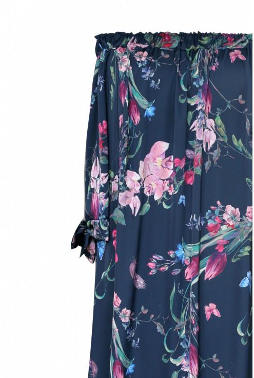 Granatowa sukienka hiszpanka w kwiaty - MARITA NAVY