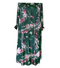 Ciemnozielona sukienka hiszpanka w kwiaty - MARITA GREEN