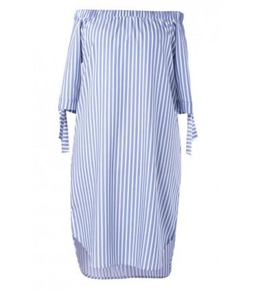 Biało-niebieska sukienka hiszpanka w paski ALISON