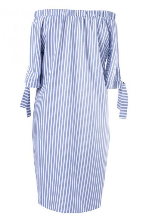 Biało-niebieska sukienka w paski ALISON