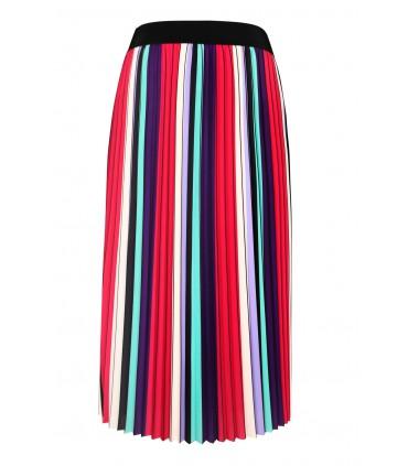 Spódnica plisowana w kolorowe pasy - KAREN