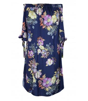 Granatowa satynowa sukienka hiszpanka w kwiaty - MARITA
