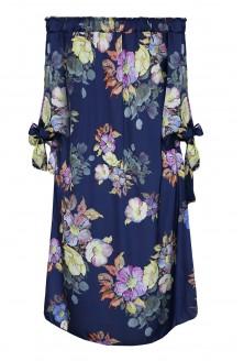 granatowa satynowa sukienka hiszpanka plus size