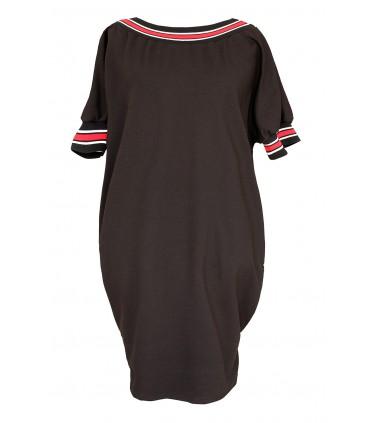 Czarna sukienka z biało-czerwonym ściągaczem - WHITNEY