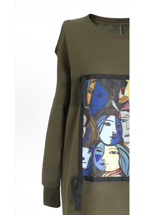 Khaki dresowa sukienka z grafiką KEYS