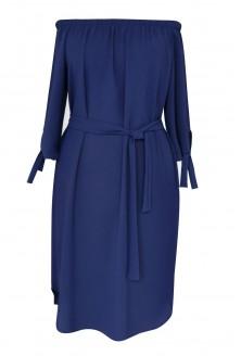 Granatowa sukienka w stylu hiszpańskim w dużych rozmiarach.