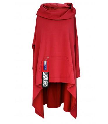 Czerwona długa bluza z kapturem KORN