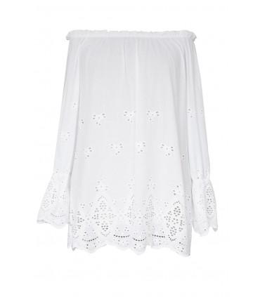 Biała bluzka hiszpanka z ozdobnym haftem DENISE