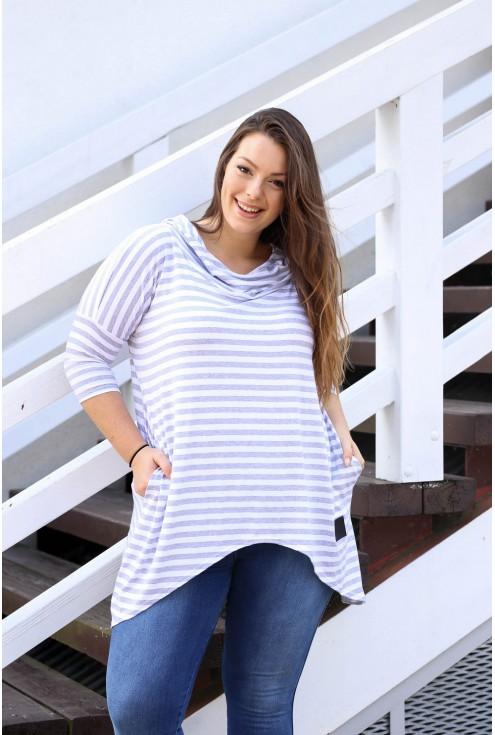 Biało-szara lekka bluza w paski