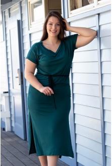 butelkowa zieleń sukienka xxl