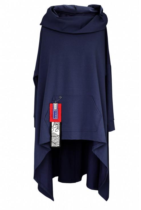 Granatowa długa bluza obszerna xxl