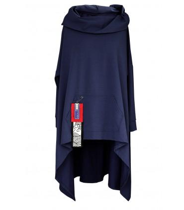 Granatowa długa bluza z kapturem KORN