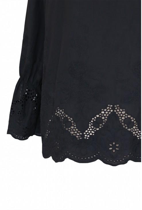czarna bluzka z haftem xxl