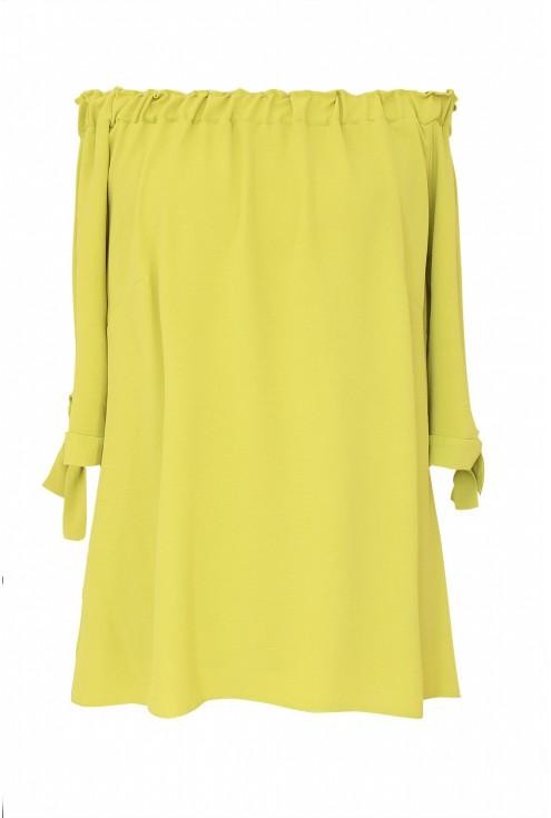 Limonkowa bluzka hiszpanka z wiązaniem xxl