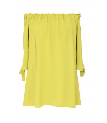 Limonkowa bluzka hiszpanka z wiązanymi rękawkami NINA