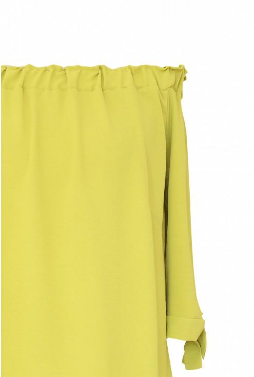 Limonkowa bluzka hiszpanka plus size