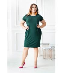 Zielona sukienka z pionowymi zaszewkami Giovanna