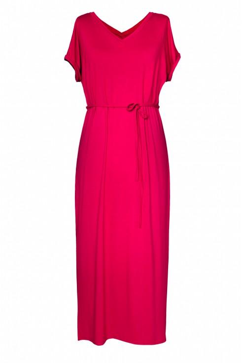 Wiśniowa dzianinowa sukienka maxi - MELISSA