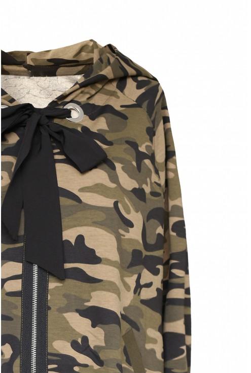 Bluza oversize z kapturem - moro - BETH - detal