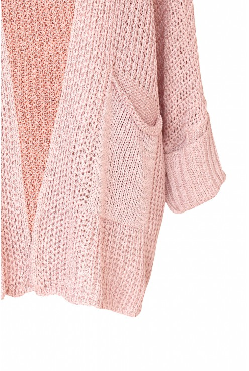 Pudrowo-różowy kardigan z kieszeniami - MILLIE