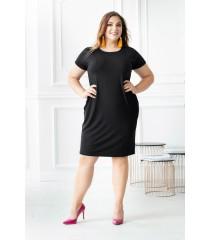 Czarna sukienka z pionowymi zaszewkami - Giovanna