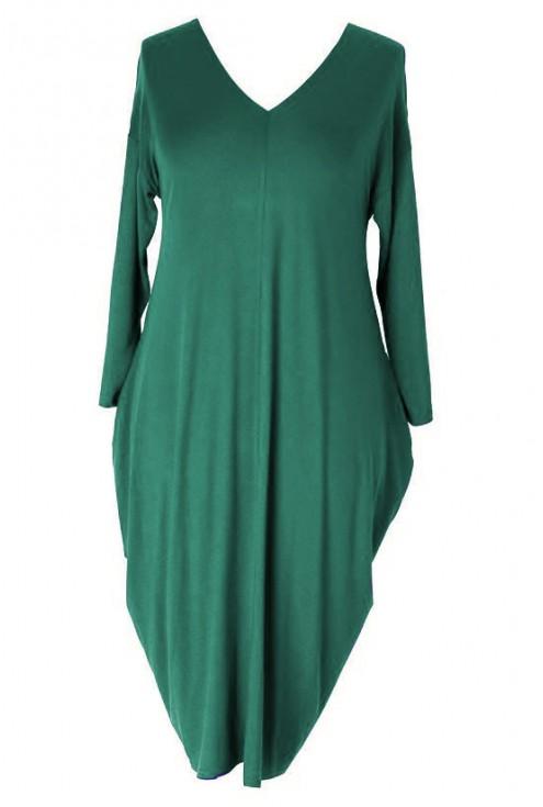 Zielona sukienka z długim xxl