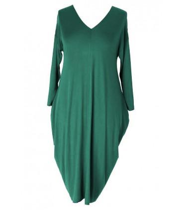 Butelkowa sukienka CYNTIA z długim rękawem