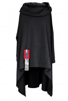 Czarna długa bluza z kapturem xxl