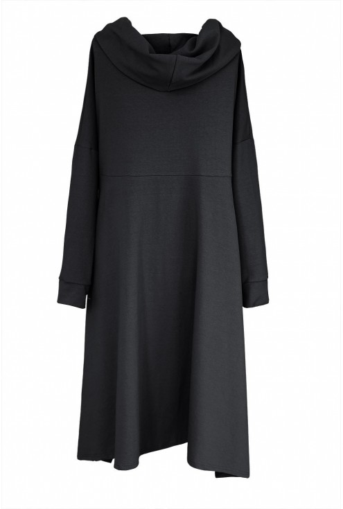 Czarna długa bluza z kapturem plus size