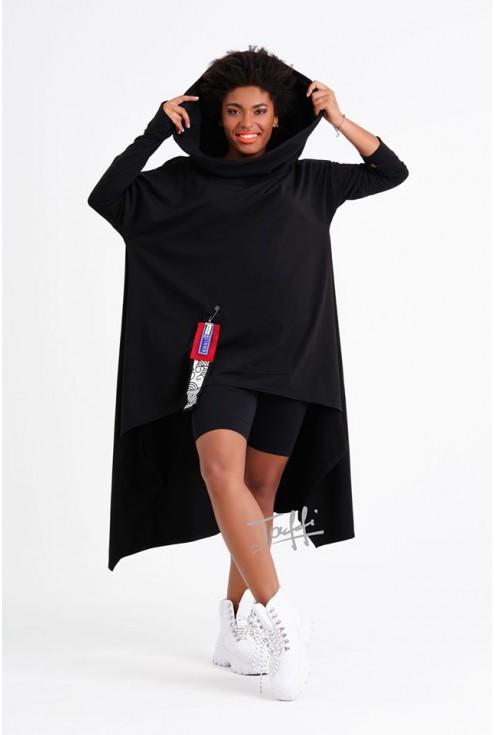 Czarna długa bluza xxl