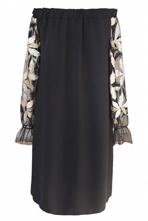 Czarna sukienka hiszpanka z cekinami - wzór w liście - MIRELLA - przód