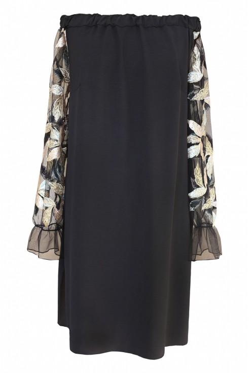 Czarna sukienka hiszpanka z cekinami - wzór w liście - MIRELLA - tył