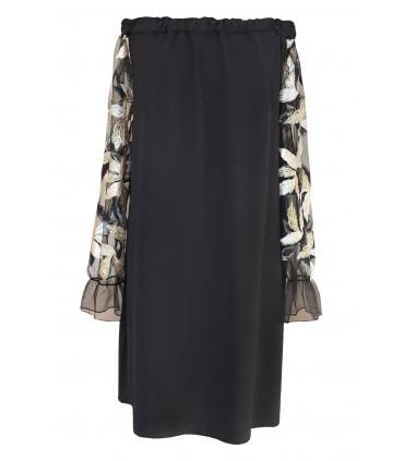 Czarna sukienka hiszpanka z cekinami - wzór w liście - MIRELLA