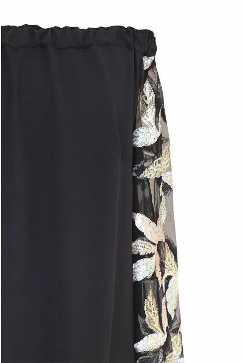 Czarna sukienka hiszpanka z cekinami - wzór w liście - MIRELLA - detal