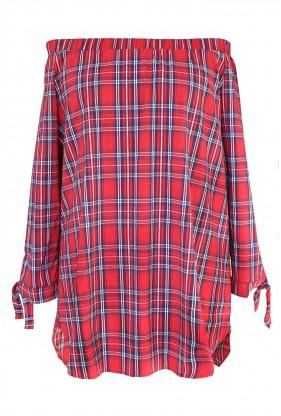 Czerwona bluzka hiszpanka w kratke - CARLOTTA - przód