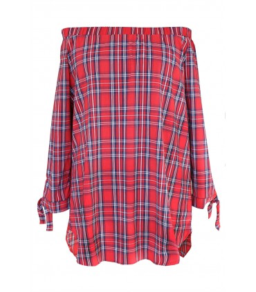 Czerwona bluzka hiszpanka w kratke - CARLOTTA