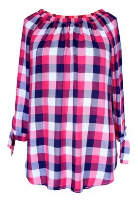 Różowo-biała bluzka hiszpanka w kratke - CARLOTTA - przód