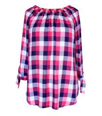 Różowo-biała bluzka hiszpanka w kratke - CARLOTTA