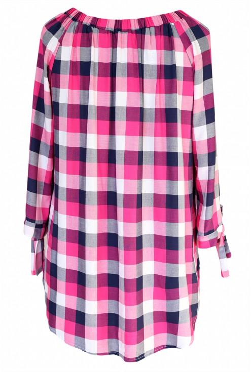 Różowo-biała bluzka hiszpanka w kratke - CARLOTTA - tył