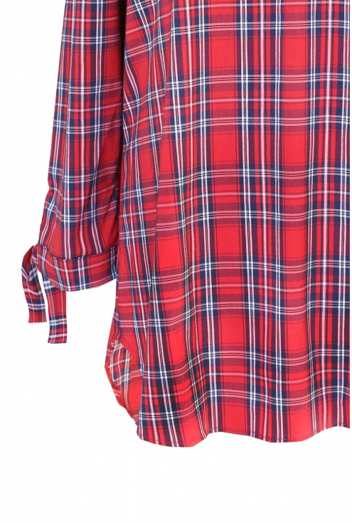 Czerwona bluzka hiszpanka w kratke - CARLOTTA - detal