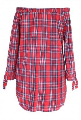 Czerwona bluzka hiszpanka w kratke - CARLOTTA - tył